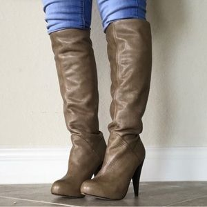 Dolce Vita Taupe Leather Knee high heeled boots